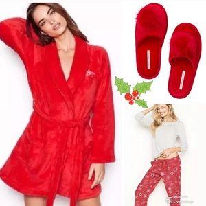 VS red robe M\L Flannel pajamas MR Red slipper M🎄